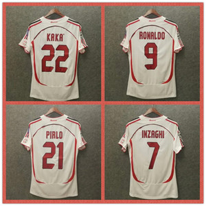 Retro 2006 milanas camisetas de fútbol para el hogar 06 07 ropa de fútbol de alta calidad MALDINI 3 kaka 22 inzaghi 9 pirlo 21 Vintage Camisetas