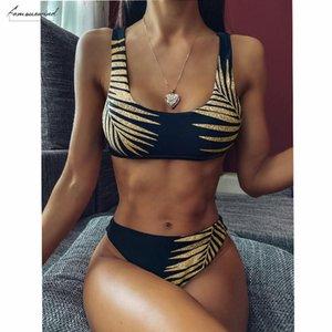 High Waisted Bikins 2020 Thong Biquini Bandeau Women Swimming Suit For Women Swimwear Ruffle Swimsuit Female Micro Bikini Set