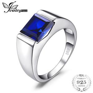 Jewelrypalace Anillo de Los Hombres 925 Astilla Esterlina 3.3ct Creado Azul Anillo de Zafiro 2019 Anillo de Bodas Moda Fina Marcas de Joyería J190612