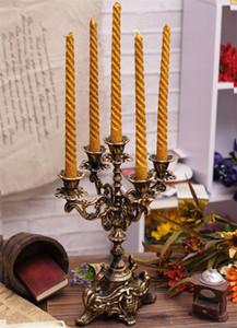 Vintage Cast Iron Candle Holder 4 Arm 5 Light Metal Candelabra Candlestick Wedding Table Desk Dinner Decor Supplies Home Bar Pub Decorations