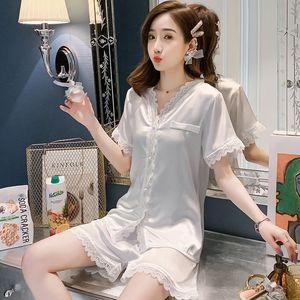 Pure Ladies Pajamas Fresh V-Neck Bed Sets Raglan Sleeve Comfortable Sleep Suits Women Homewear Silken Nightware for Girls