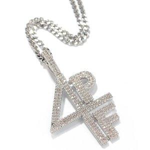 4PF Digital Letter Mosaic Zrcon Pendant Necklace Cuban Link Chain Hip Hop Performance Rap DJ Necklace1