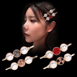 Nueva ronda elegante Clip perla del Rhinestone de la pinza de pelo de las mujeres de Corea-Estilo red roja Palabra Top Girls Bangs Pinza