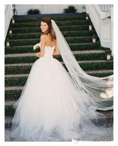 Wedding Veil bordo tagliato velo da sposa con pettine uno strato bianco / avorio 3 m di lunghezza Cattedrale Veils Velos da sposa Wedding Accessories
