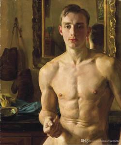-vA. Tuval Duvar Ofis Sanat Dekor p44 üzerinde Yüksek Kalite Handpainted HD Baskı Şekil Sanat Yağlıboya Resim çıplak erkek MEN