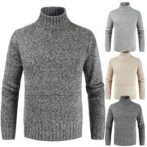 Otoño Invierno Cuello alto muchacho ocasional de gran tamaño suéter gris Turtelneck suéter de punto de manga larga Pullover Hombres Xxxl géneros de punto
