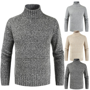 Outono Inverno Colarinho alto Boy Oversized Sweater Grey Turtelneck camisola de malha Casual manga comprida Pullover Homens Xxxl Knitwear