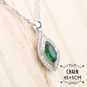 Bridal Silver 925 Costume Jewelry Sets For Women Green Zircon Bracelets Pendant Necklace Rings Earrings With Stones Set Gift Box