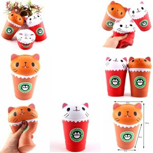 14cm Cat Squishy Toys Coffee Cup Squishies Cute Animal Slow Rising Jumbo Vent Children Toy Gifts GGA369 30PCS