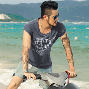 Summer new European and American Casual Tees letter Printing t-shirt male loose tops brand men's short sleeve T-shirt T4002 T200410