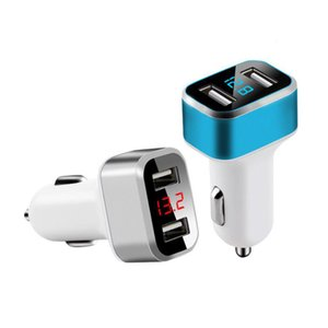 عالمي ثنائي USB سيارة شاحن محول الإضافية 3.1a الرقمية LED الجهد / العرض الحالي السيارات معدن سيارة شاحن للهواتف الذكية والكمبيوتر اللوحي
