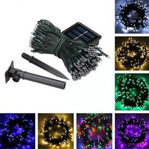 Luces de la Navidad 100 LED 200 LED al aire libre 8 modos con energía solar Cuerdas fiesta de Navidad de la luz del jardín de la lámpara Hada llevó cuerdas lámparas 22M 10M