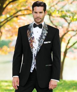 Черный Камуфляж Свадебный смокинги Британский стиль сшитое Camo Mens костюм Slim Fit Blazer свадебные костюмы для мужчин (костюм + трусы + майка) Выпускные костюмы