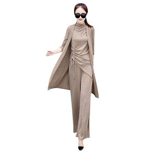 Women Casual Slim Fashion Spring Long Sleeve O Neck Tops+Solid Color Single-Breasted Coat+ Wide-Leg Pants Three-Piece Suit H