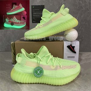 Лучшего качество Kanye West Glow In The Duck Earth Шлак кроссовок Yecheil Ешая Zyon Zebra льняных Льняные Статические мужские женские спортивные кроссовки