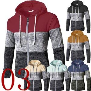 Men Hoodies Patchwork Color Long Sleeve Hooded Zipper Casual Slim Cardigan Sweatshirt