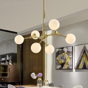 Nordic Metal Gold Chandelier HangLamp Bola de vidro LED Lâmpada pingente para sala de estar luminária Luminaria iluminação