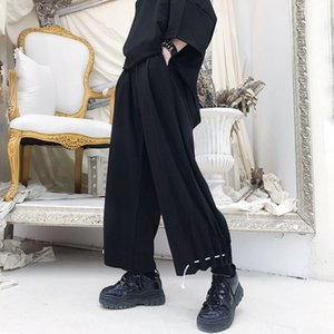 2019 New men's clothing Hair Stylist GD Street Fashion High waist straight tube cotton linen casual Wide Leg Pants costumes