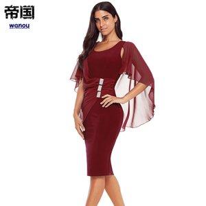 Sexy Elegance Party Свадебное платье Женщины Lady Wine Red с воротником с коротким рукавом Тонкий Нерегулярные НОВОЕ платье