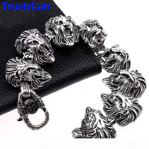 TrustyLan Animal Lion Head Jewelry Accessories Gothic Cool Stainless Steel Mens Bracelets Bangles Rock Punk Bracelet Brazalet C18110201