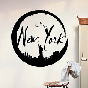 New York America Black Statue of Liberty Pattern Illustration Silhouette Removable Wall Sticker City Buildings Art Decals Mural Wallpaper fo