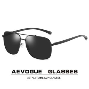 AEVOGUE 2020 New Sunglasses Men Pilot Two Beams Polarized Fashion Metal Frame Square Retro Unisex Sun Glasses UV400 AE0775