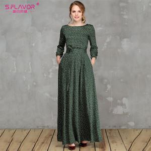 S. flavor Kadınlar Küçük Çiçek Yeşil Uzun Elbise Zarif Üç Çeyrek Kollu Vestidos De Dresses Vinatge İlkbahar Yaz Gündelik Elbise Y190514