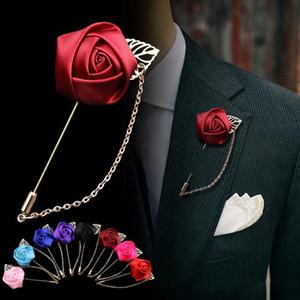 1 개 남성 장미 꽃 골든 리프 패션 브로치 핀 정장 라펠 새로운 남성 웨딩 boutonniere의 브로치 보석 선물