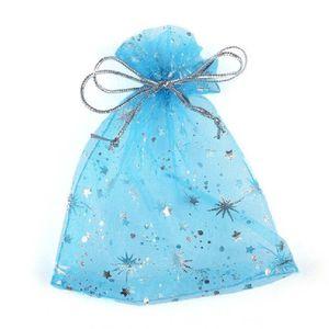 100 Adet / torba Yüksek Kalite Moda Yıldız Organze Çanta 9x12 cm Güzel Takı Ambalaj Çanta Düğün Noel Hediyesi Torbalar çanta