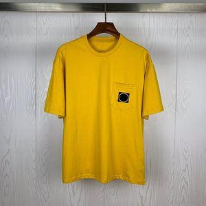 Moda Erkek T Shirt Yaz Kısa Kollu T gömlek Katı Renk Cep Dekorasyon Erkekler Kadınlar Çiftler Yuvarlak Yaka Kısa Kollu Hip Hop Tee