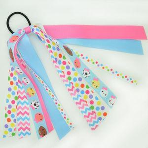 10 pcs lot 8 Inch ponytail band football baseball Printed grosgrain ribbon Girl's hair bow Headware Kids Hair Accessories