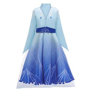 Snow Queen 2 II Cosplay fantasia vestido de princesa para a menina Snowflake Cloak traje de Halloween Kids Party Dresses + casaco + calças 3pcs / set M661