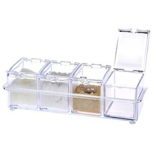 Four In One With Spoon Kitchen Organizer Storage Boxes Spices Seasoning Jar Transparent Sugar Salt Bottle Kitchen Accessories Convenient
