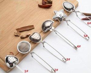 6styles الفولاذ المقاوم للصدأ مصفاة الشاي الشاي المساعد على التحلل ملعقة توابل ستار شل البيضاوي جولة شكل قلب مصفاة Teaware DHB653