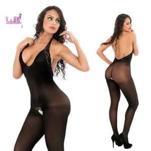 2019 Euro-American fashion blockbuster intimo sexy pizzo collo-legato open-cavallo calze di seta da donna pigiama 8607