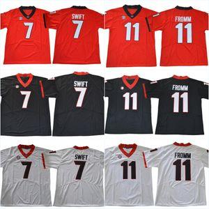 NCAA 7 D'اندريه سويفت رقم 11 جيك فروم 1 سوني ميشيل 27 نيك تشب 10 كلية إيسون UGA بلدغ مخيط كرة القدم الفانيلة