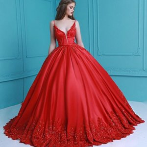 Elegant Red Straps Evening Dresses Ball Gown Prom Puffy Dress with Pockets Petticoat Appliques Women Ball Dresses Custom Made Bride Wear