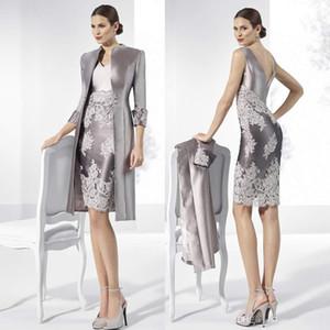 Uzun Kollu Ceket Wedding Guest Elbise Diz Boyu Tafta Örgün törenlerinde ile Gelin Modelleri V Neck 2020 Gümüş Kılıf Dantel Anne