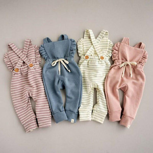 4 cores New Born Baby Clothes Backless listrado Ruffle Romper macacões Macacão roupa do bebé menina Romper crianças suspender macacão M931