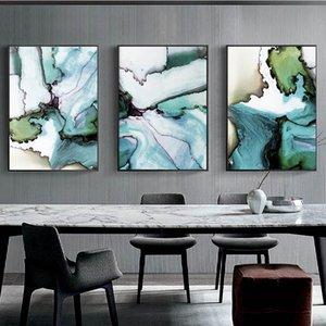 Résumé Décoration Toile peinture vert et bleu géométrique Encre marbre Affiches Aquarelle Wall Art Image pour le salon