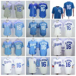 Vintage Baseball 16 Bo Jackson Jersey 1974 1980 1985 1987 aposentar Homens Pullover Flexbase Legal Base de Tudo costurado Azul Branco Cinza equipe cor