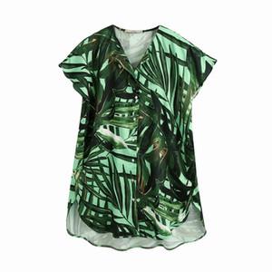 Loose Women Chemisier été 2020 nouvelle mode large Chemisier imprimés tropicaux surdimensionnée Lady longues Chemises