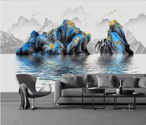 WDBH 3d photo carta da parati murales personalizzato cinese moderna luce paesaggio astratto inchiostro soggiorno wallpaper per pareti 3 d