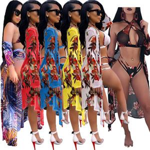 Donne 3 tuta 2020 Fashion stampa floreale Crop Tops + Shorts + Cardigan lungo di estate delle signore sexy Boho della spiaggia di stile Abiti Set