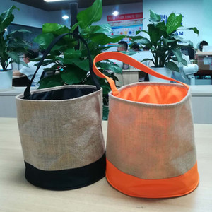 Patchwork Jute Halloween Bucket Wholesale Blanks Orange Halloween Bucket Treat or Trick Tote Halloween Gift Collection Bag DOM1061253