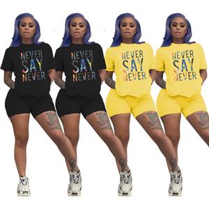2020 Designer-Frauen-Kleidung Zwei Stücke Sets Sommer Tracksuits O-Ansatz Letter Print Crop Tops Jogger Shorts Leggings Sexy Anzug Fitness Outfit