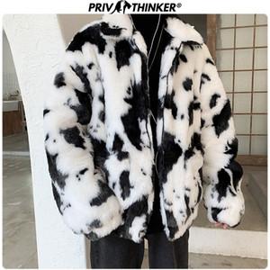 Privathinker 2019 Homens Winter Vaca Thicken Faux Fur Parka Jacket Moda Masculina solto Quente Brasão Masculino Streetwear Winderbreak Oversize Y191116