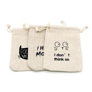 Sacs de coton 100 pcs 13 * 18cm Sacs de jute en tissu écologique réutilisable pour l'affichage de bijoux Sac à cadeau Sac à cadeau Emballage Candy Bead Perle jouet