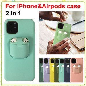 2in1 Airpods Cover and Liquid Silicone Case TWS Bluetooth Wireless earphone phone cases For iPhone 11 Pro Max XS Max XR XS X 8 7 Plus MQ200