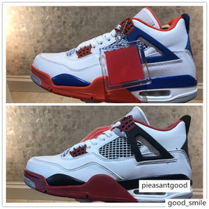 2018 New Jumpman IV 4 White Blue Orange Claret Fire Red Black Basketball Shoes for Top quality 4s Trainers Mens Sports Sneakers Size7-12